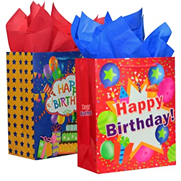 BagLove Large Birthday Gift Bags With Tissue Paper For Kids 2 Pack 105quot