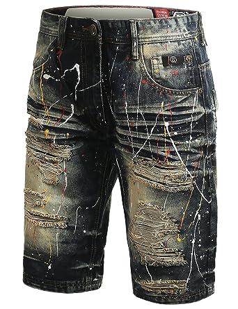 8d96bef684 URBANCREWS Mens Hipster Hip Hop Paint Splashed Denim Shorts Vintage, 30