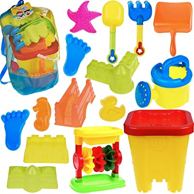 Beach Sand Toys Set for Kids Toddlers Sandbox Toy With Mesh Bag, Castle Bucket, Sand Wheel, Watering Can, Shovel, Rake, Footprint Molds, Sea Creatures Molds, Castle Molds, Sand Tool Play Set - 16 PCs