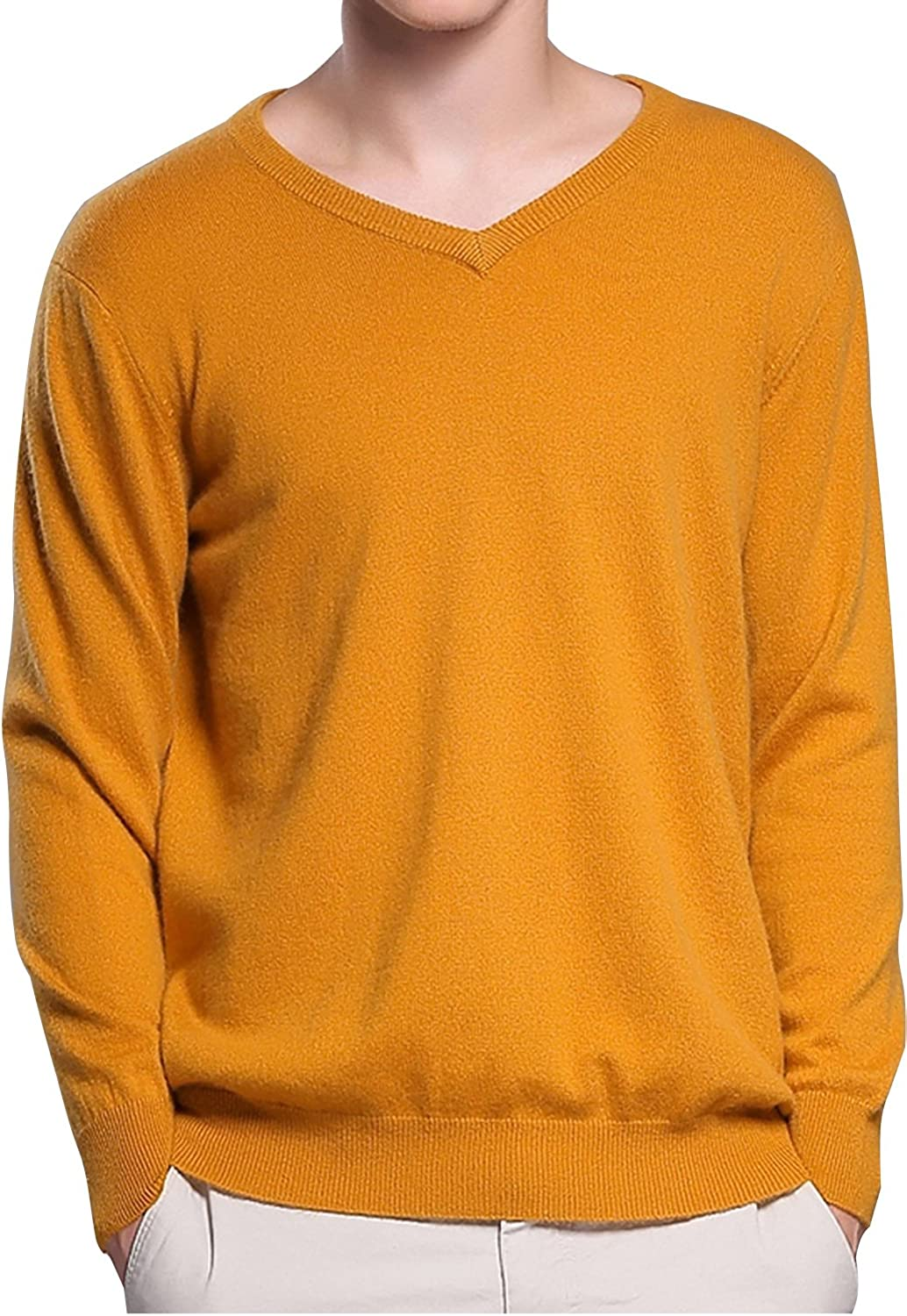 LONGMING Mens Casual Winter Cashmere Wool V-Neck Long Sleeve Pullover Sweater Warm Tops Ginger,S
