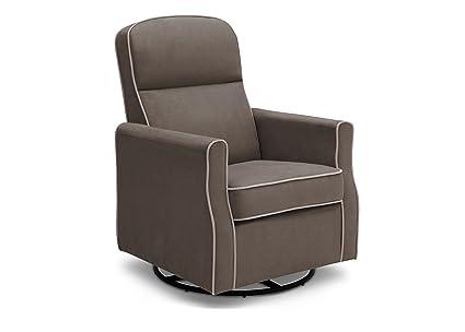 Delta Children Clair Slim Nursery Glider Swivel Rocker Chair, Graphite With  Dove Grey Welt