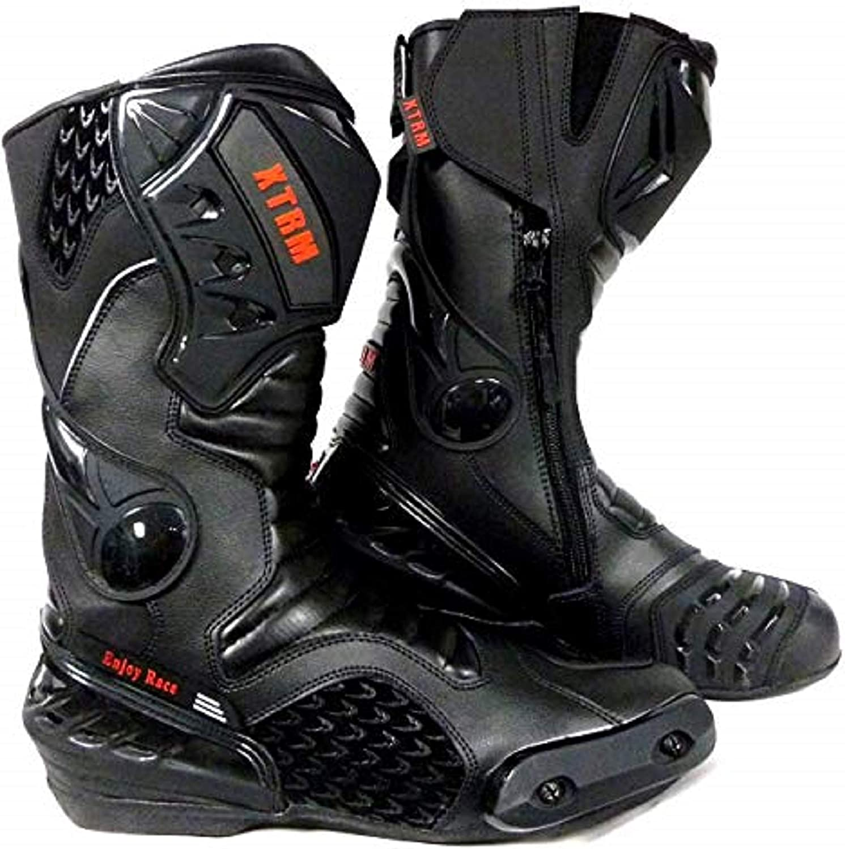 Botas de Motociclismo para Motociclista Color Negro XTRM Core con protecci/ón CE de Cuero para Carreras de Carretera