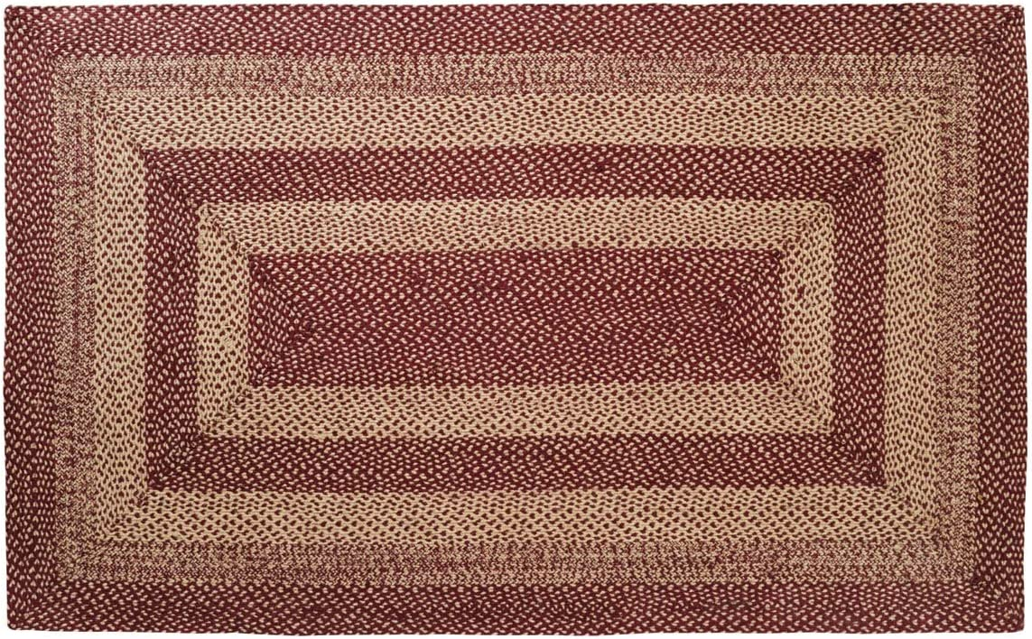 Classic Country Primitive Flooring – Burgundy Tan Jute Red Rug, 5 x 8