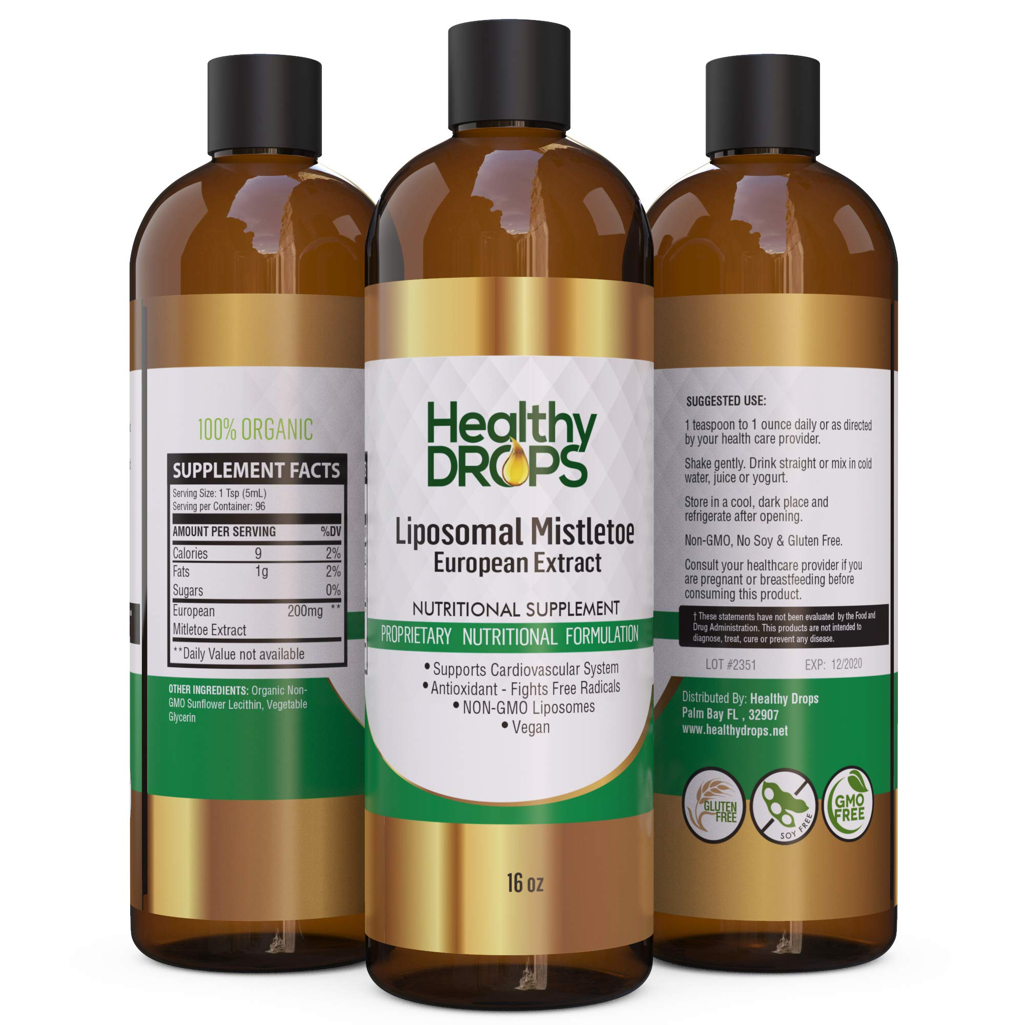 Liposomal Mistletoe European Mistletoe Extract Formula 16 oz Non Soy, Non GMO - Most Bioavailable