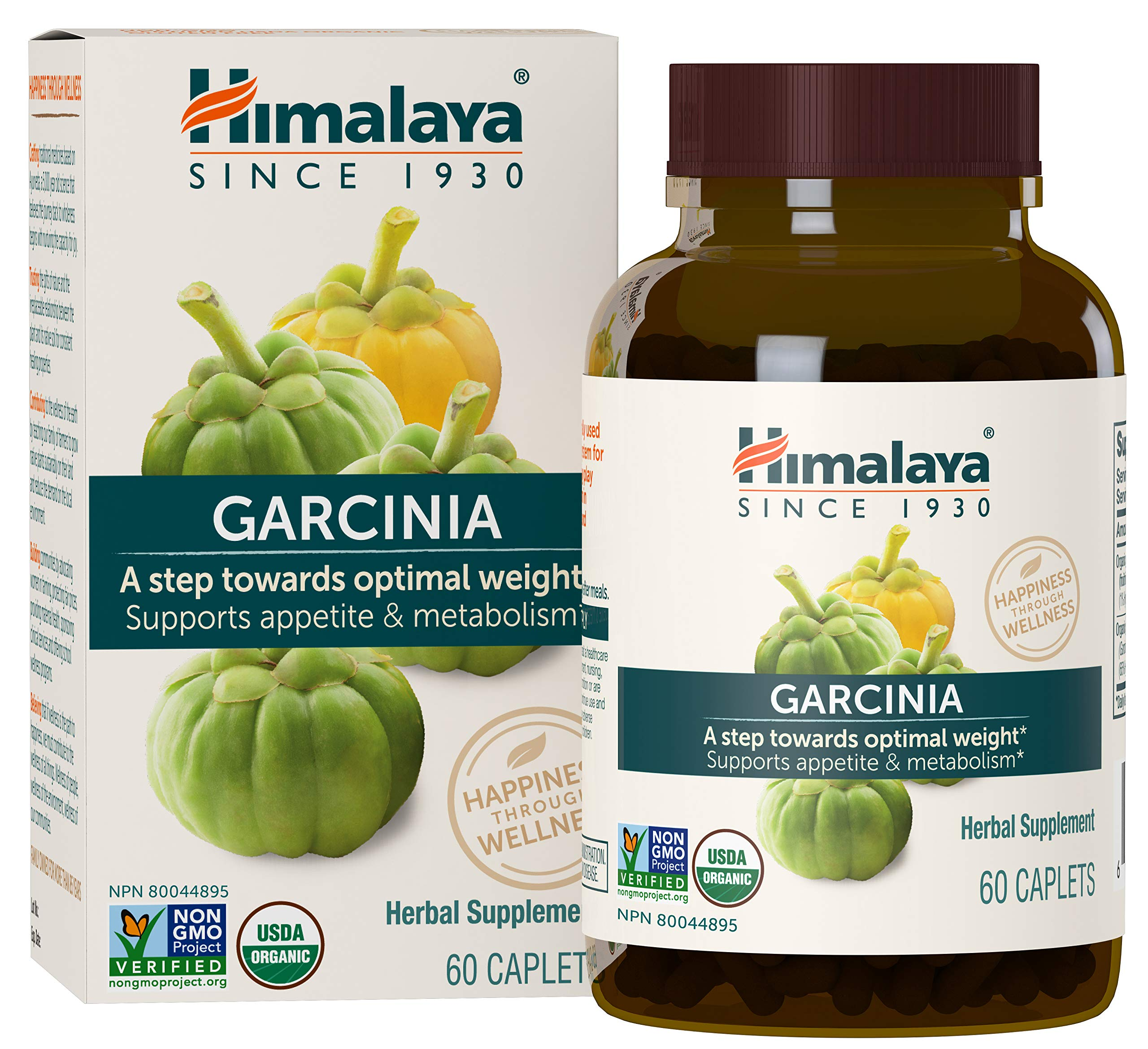 Himalaya Organic Garcinia 60 Caplets for Diet and Optimal Weight 600mg,1 Month Supply by Himalaya Herbal Healthcare