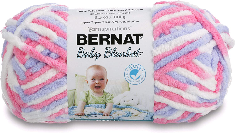 Bernat Baby Blanket Yarn, 3.5 oz, Gauge 6 Super Bulky, Pink/Blue Ombre