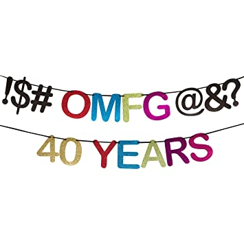 Amazon.com: OMFG de 40 años – 40º cumpleaños Banner, 40th ...