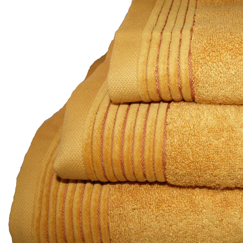 Home Juliet - Juego de 3 toallas para tocador, 33 x 50 cm, lavabo, 50 x 100 cm y baño, 100 x 150 cm, color naranja: Amazon.es: Hogar