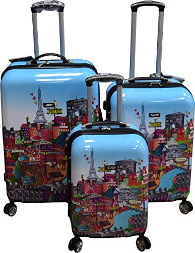 Kemyer 788 Vintage World Series Lightweight 3-PC Expandable Hardside Spinner Luggage Set Paris Cafe