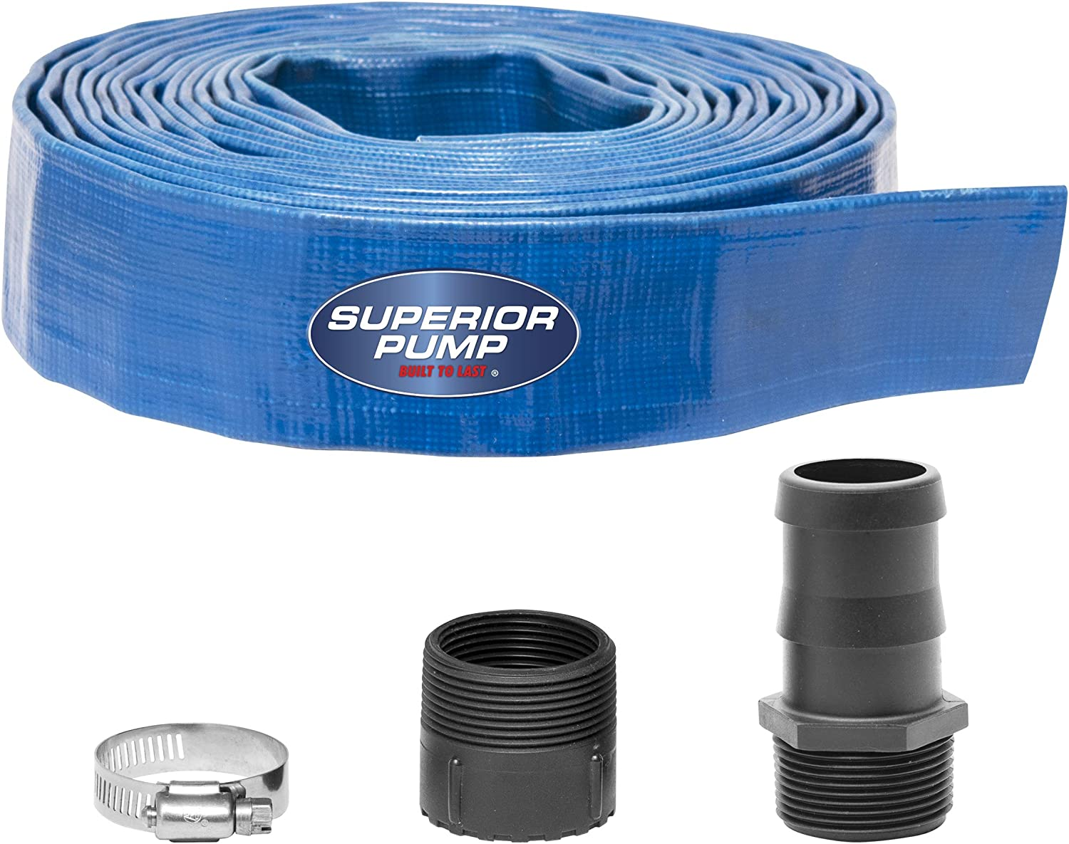Superior Pump 99621 Lay-Flat Discharge Hose Kit, 1-1/2-Inch by 25-foot (5, 4-Piece