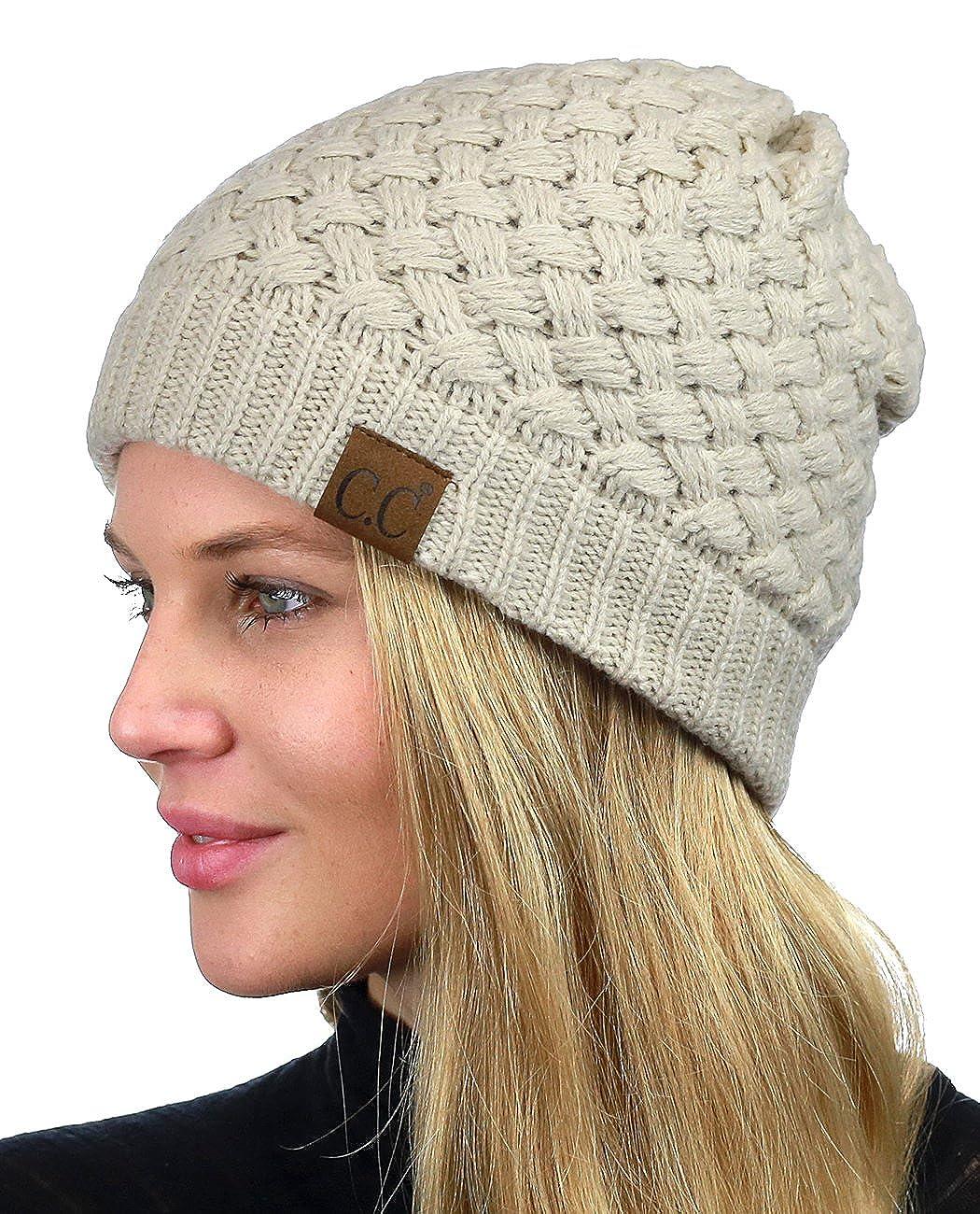 C.C Basketweave Knit Warm Inner Lined Soft Stretch Skully Beanie Hat Beige HAT47-BG