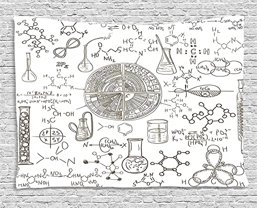 Ambesonne Science Tapestry, Science Theme Hand Drawn Style Chemistry Laboratory School Classroom Illustration, Wide Wall Hanging for Bedroom Living Room Dorm, 80 X 60 , White Umber