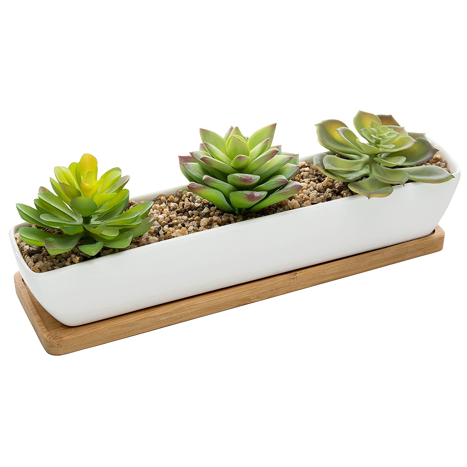 MyGift Artificial Succulent Arrangement in 11-Inch Ceramic Planter with Bamboo Tray