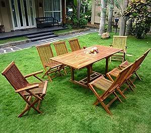 Set de mesa y sillas de teca para el jardín 8 personas: Amazon.es: Jardín
