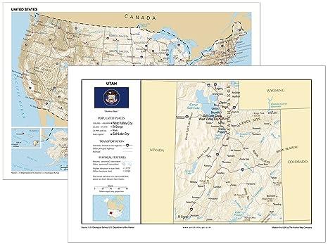Utah United States Map.Amazon Com 13x19 Utah And 13x19 United States General Reference