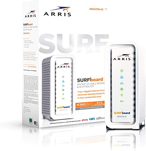 2.4 // 5 G Arris SURFboard SBG6700-AC Wireless Router Cable Modem 1600 Mbps
