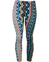 Soft Vertical Teal and Pink Pattern Stretch Leggings