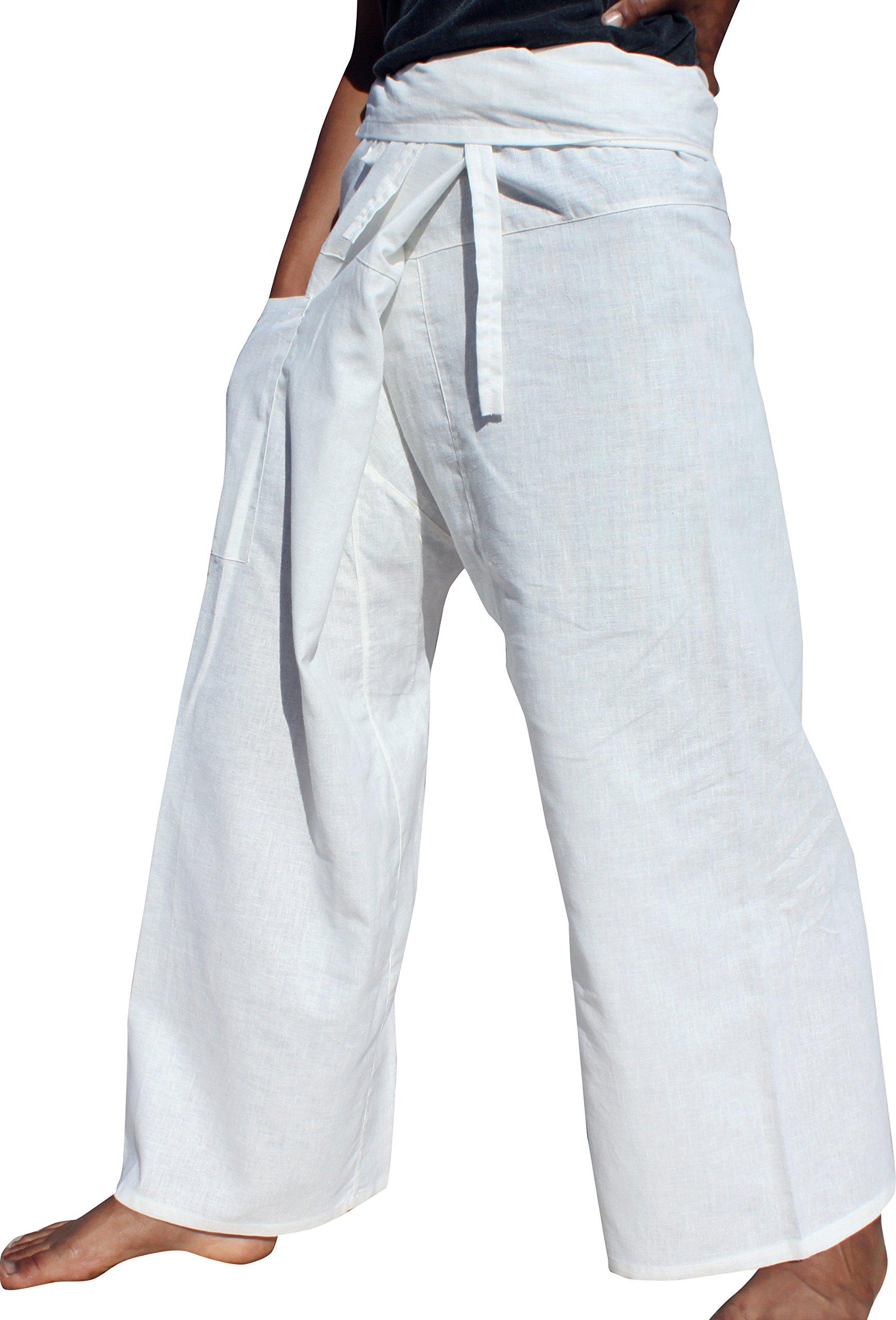 Raan Pah Muang High Grade Chinese 55% Hemp 45% Cotton Thai Fisherman Wrap Pants, Medium, White by Raan Pah Muang