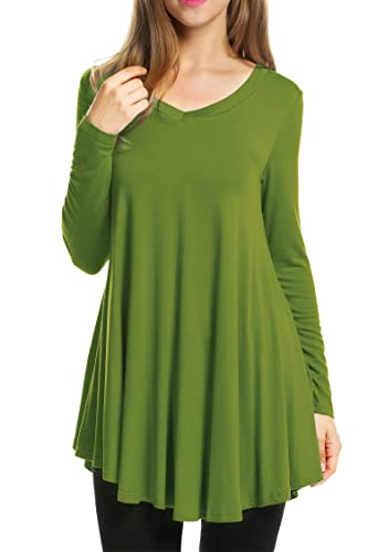 HOTOUCH Women's V-Neck Long Sleeve Casual Jersey Tunic Tops