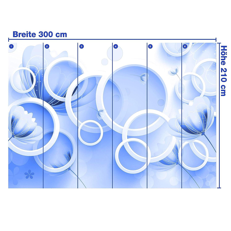 Wandmotiv24 Fototapete Rot Blaumen weiss 3D 3D 3D Kreise M4317 L 300 x 210 cm - 6 Teile Wandbild - Motivtapete B07NKVDMXS Wandtattoos & Wandbilder d0749b
