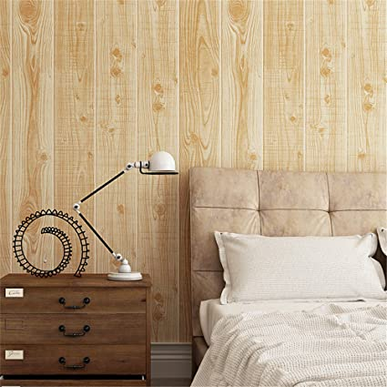 Akea Faux Wood Plank Wallpaper 3D Rustic Solid Natural Textured Roll Like