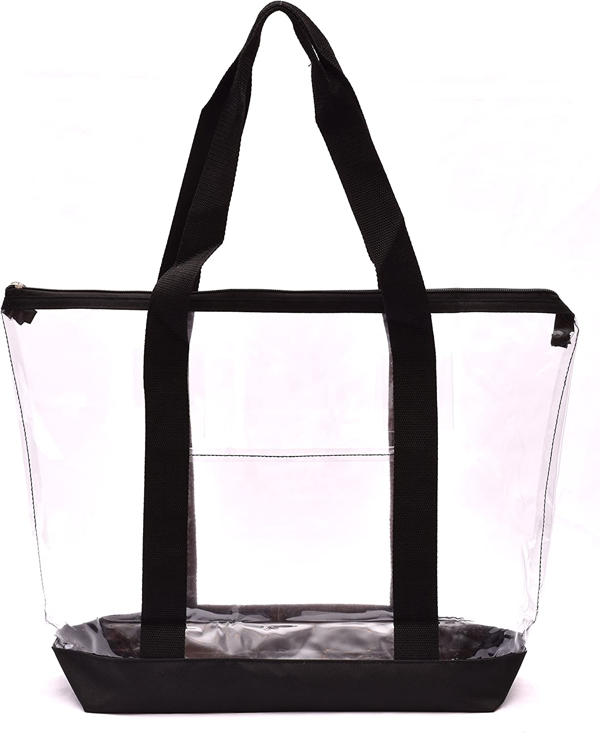Clear Tote Bag - Zipper Closure, Long Shoulder Strap, Fabric Trimming.