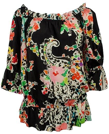 e0fbaa33dcf46c Amazon.com  Lauren Ralph Lauren Womens Ordisty Sheer Printed Blouse ...