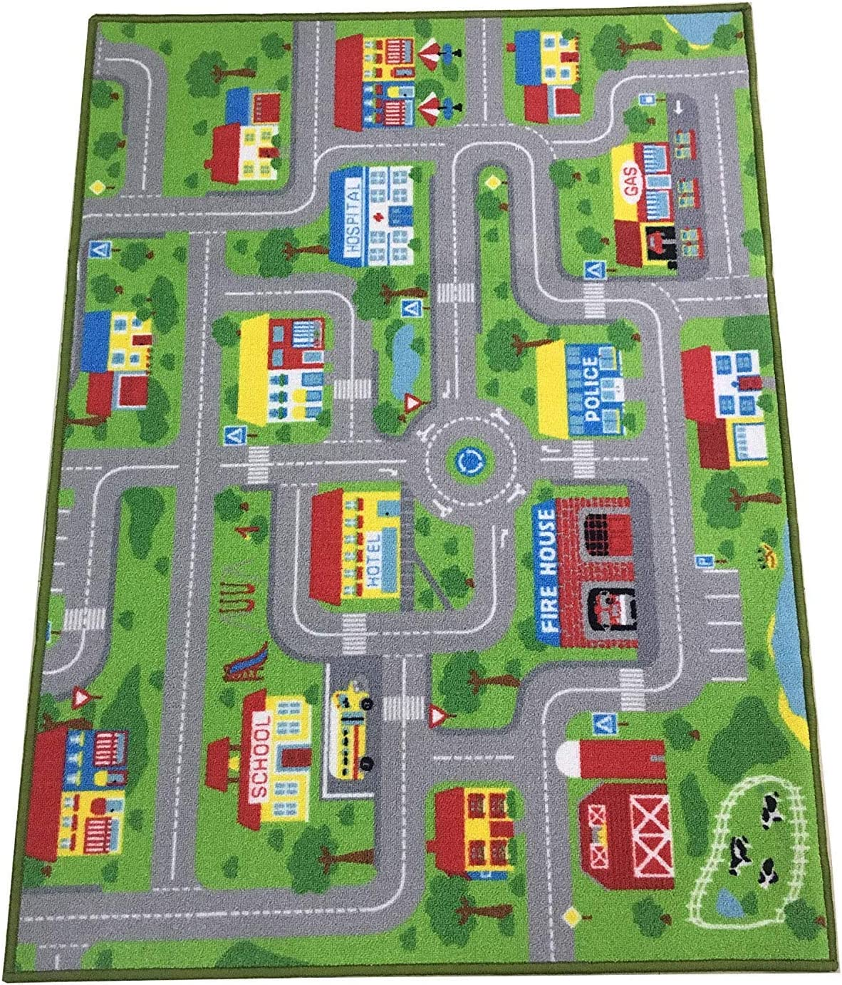 """City Street Map Kids' Rug with Roads Kids Rug Play mat with School Hospital Station Bank Hotel Book Store Government Workshop Farm for Boy Girl Nursery Bedroom Playroom Classroom (51"""" X 75"""")"""