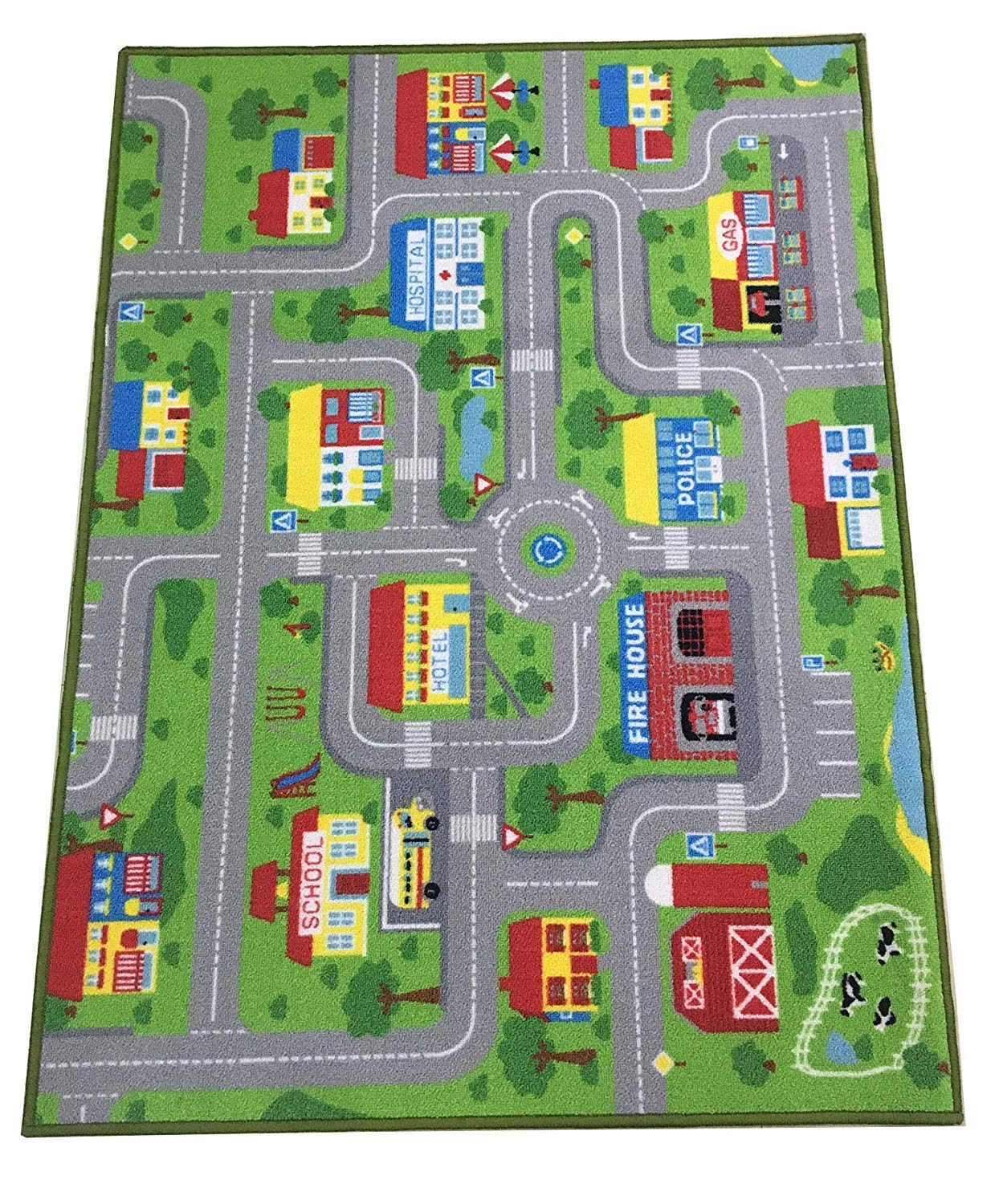 City Street Map Kids' Rug with Roads Kids Rug Play mat with School Hospital Station Bank Hotel Book Store Government Workshop Farm for Boy Girl Nursery Bedroom Playroom Classrooms (51'' X 75'')