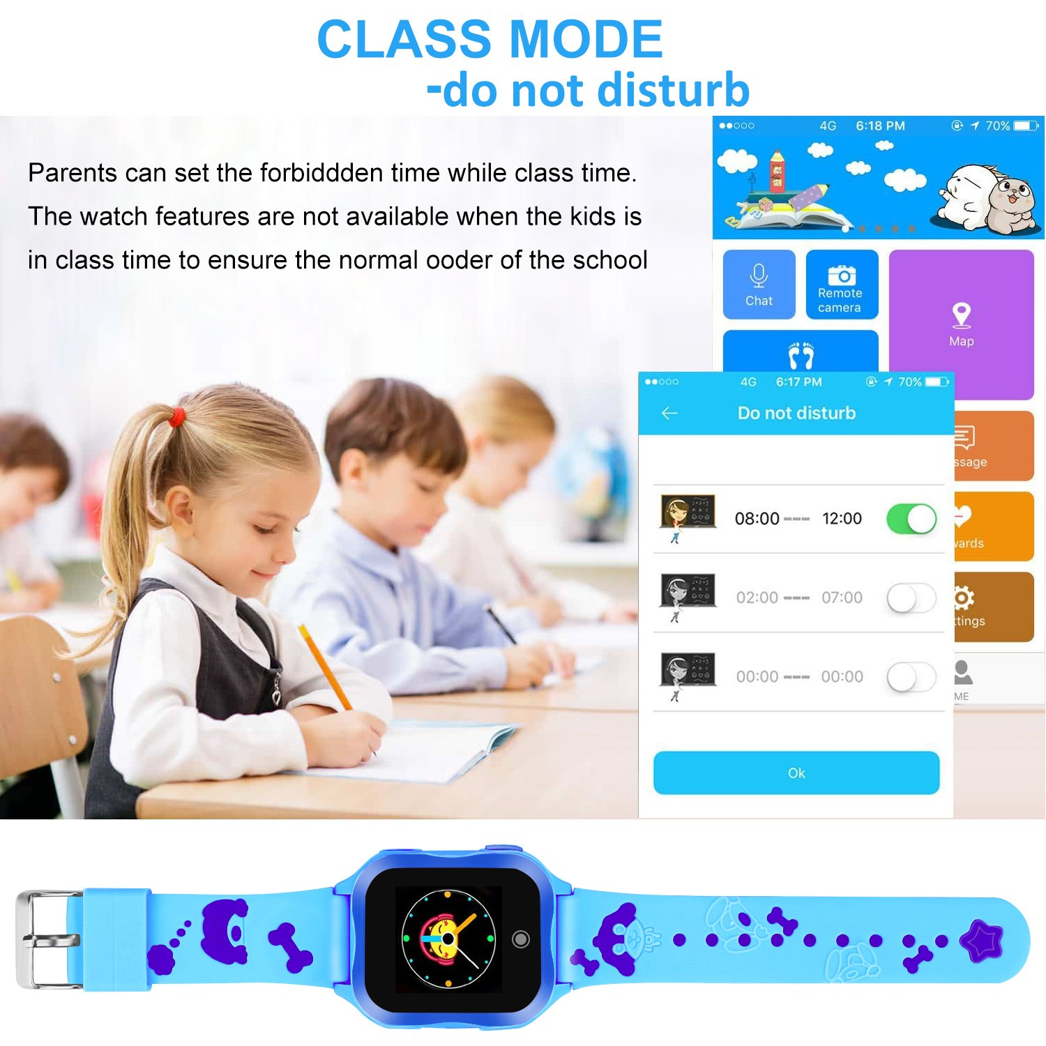 LJRYCQSSZSF Kids Smart Watch Phone GPS Tracker Ip67 Waterproof Kids Smartwatches Age 3-15 Boys Girls Touch Screen SIM Slot Educational Toys Phone 1.44 Inch Birthday Gift (Blue) by LJRYCQSSZSF (Image #5)