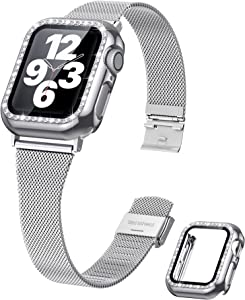 Viotonic Compatible with Apple Watch Band 42mm 44mm with Bling Diamond Protective Case for Women Men, Adjustable Stainless Steel Mesh Slim Loop Strap for iWatch Series 3/2/1(Silver)