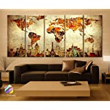 "Xlarge 30""x 70"" 5 Panels 30x14 Ea Art Canvas Print Original Wonders of the World Old Paper Map Vintage Wall Decor Home Interior (Framed 1.5"" Depth)"