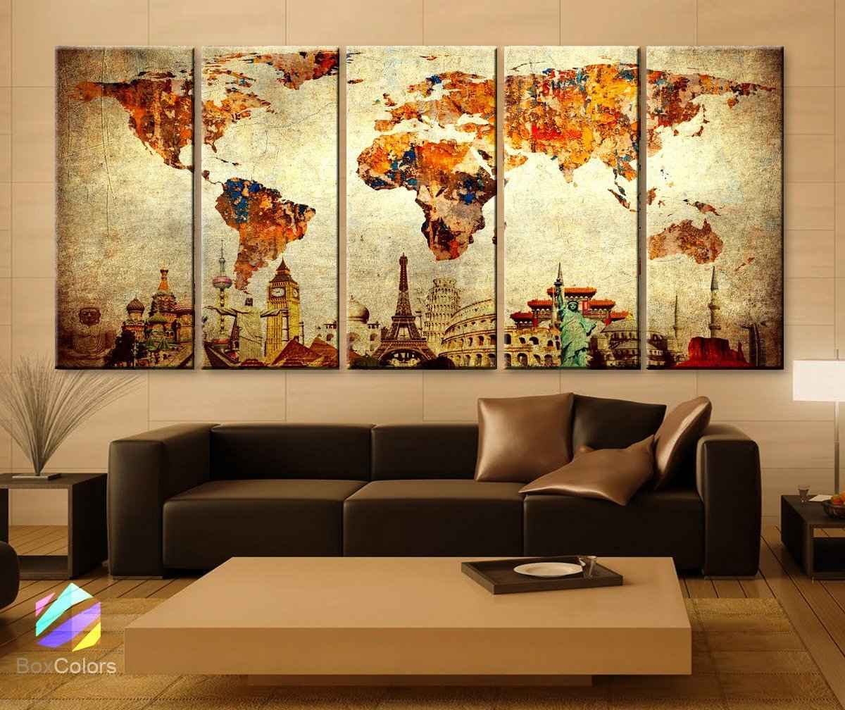 Amazon xlarge 30x 70 5 panels 30x14 ea art canvas print amazon xlarge 30x 70 5 panels 30x14 ea art canvas print original wonders of the world old paper map vintage wall decor home interior framed 15 gumiabroncs Choice Image