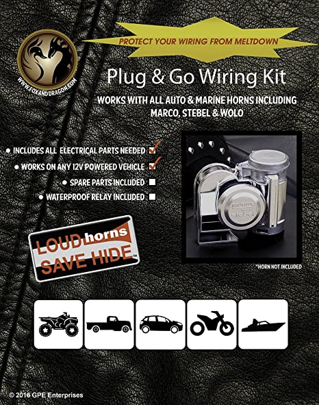 amazon com plug and go wiring harness for marco tornado and other amazon com plug and go wiring harness for marco tornado and other compact air horns automotive
