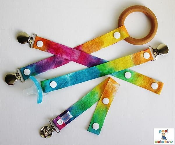 Tie Dye Paci-Catchers - Tie Dye Pacifier Clip - Tie Dye Baby Gift - Hippie Baby
