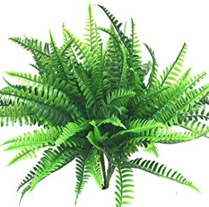 Beebel Artificial Shrubs 4 Bunches Artificial Boston Fern Plants Greenery Bushes Flower for House Office Garden Indoor Outdoor Decor
