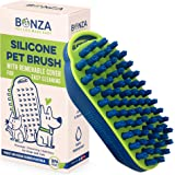Bonza Cat and Dog Massage Brush, Easy to Clean Dog Bath Brush with Removable Screen, Soft Silicone Bristles are Gentle on You
