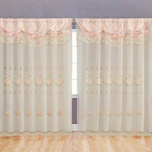 Altotux Peach Pink Room Decor Embroidery Sheer Valence Window Curtain Drapes 60×90 18 2, Peach Pink Curtain