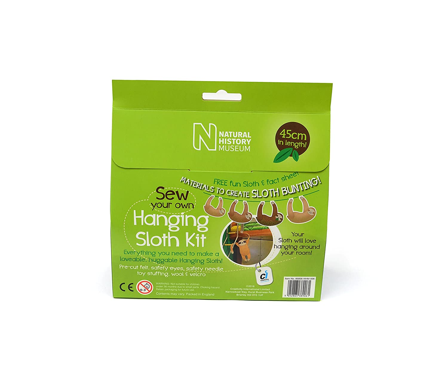 Natural History Museum 89006-NHM-006 Sew Your Own Hanging Sloth Craft Kit with Fact and Activity Sheet by: Amazon.es: Juguetes y juegos