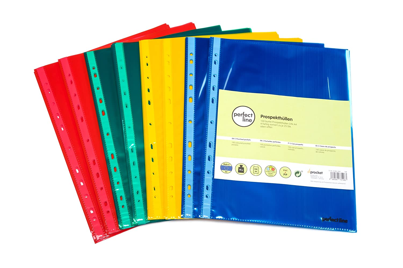 perfect line 100 buste portadocumenti colorate, trasparenti A4, fogli trasparenti colorati, 4 colori, buste trasparenti perfette per proteggere atti & documenti procket