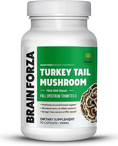 Brain Forza Organic Turkey Tail Mushroom Immune System Liver Support, Non-GMO, Vegan, Organic, 90 Capsules