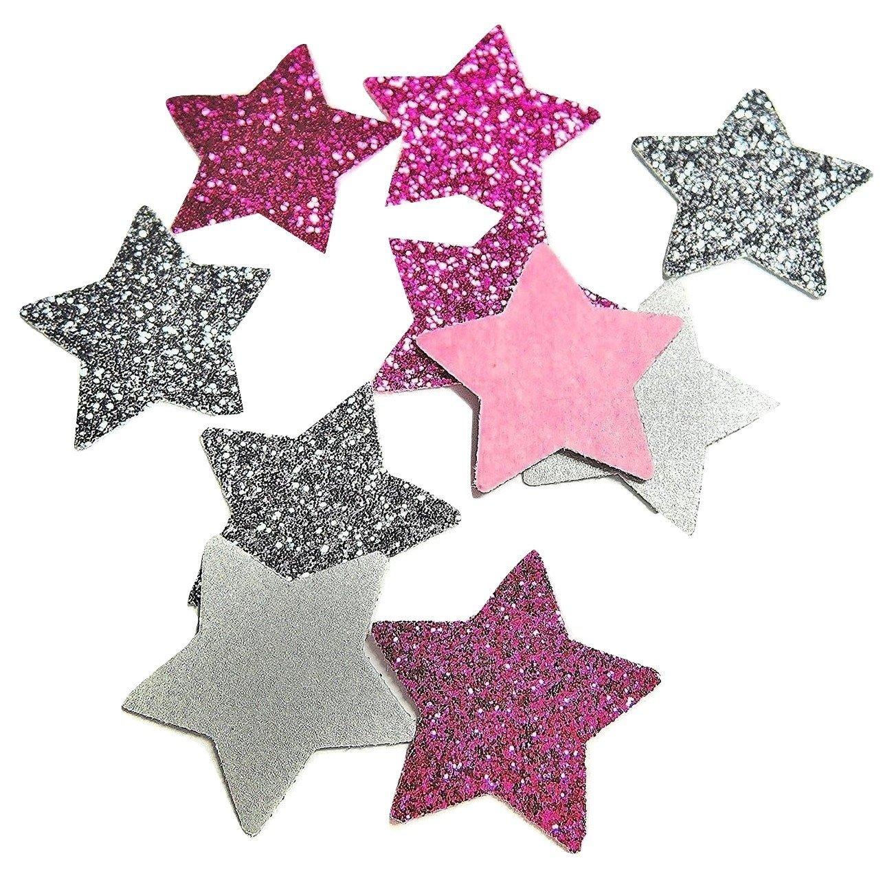 Konfetti Stern silber und rosa Glitter Tischdeko Weihnachten Party Weihnachtsfeier Dekor (handgemacht Konfetti)