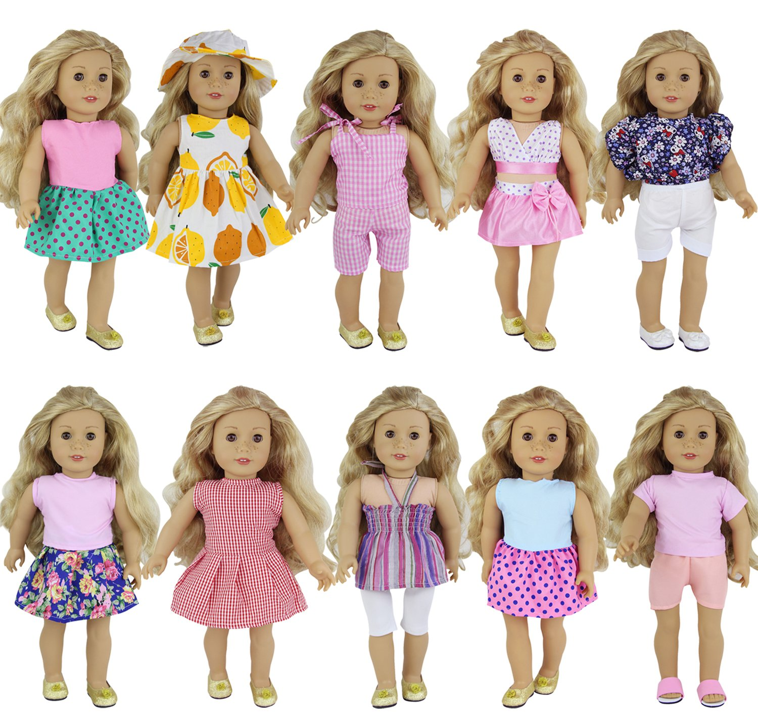 ZITA ELEMENT 10 Sets Clothes American Girl Doll | Handmade Fashion Oufits, Daily/Party Dress, Accessories Fits 16-18 inch Dolls