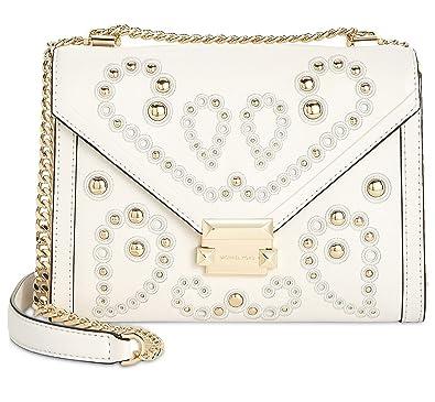 e8f9eae4ceb3 MICHAEL Michael Kors Whitney Large Embellished Leather Shoulder Bag, Optic  White: Amazon.co.uk: Shoes & Bags