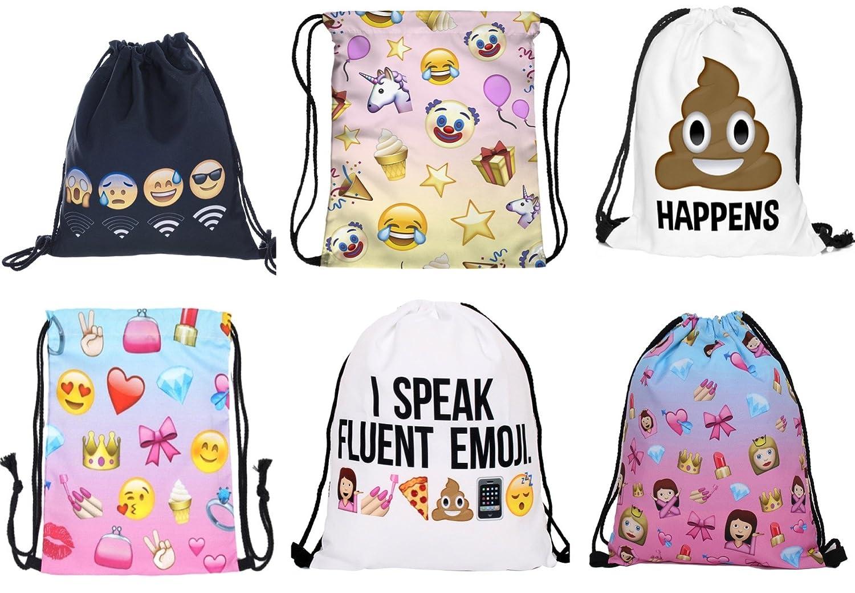 Emoji Emotion Drawstring Bags Swim Sport Sack Kids Waterproof Gym Pack School