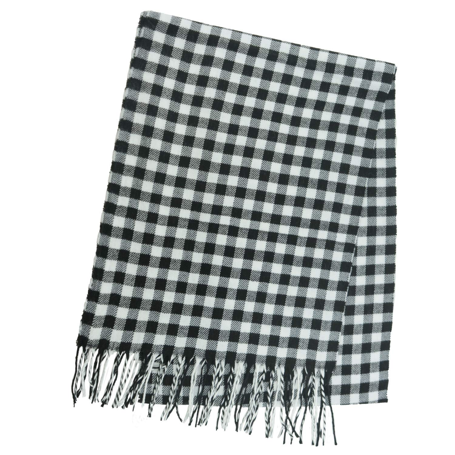 Black White Checkered Unisex Plaid Cashmere Feel Winter Scarf 7 Comets