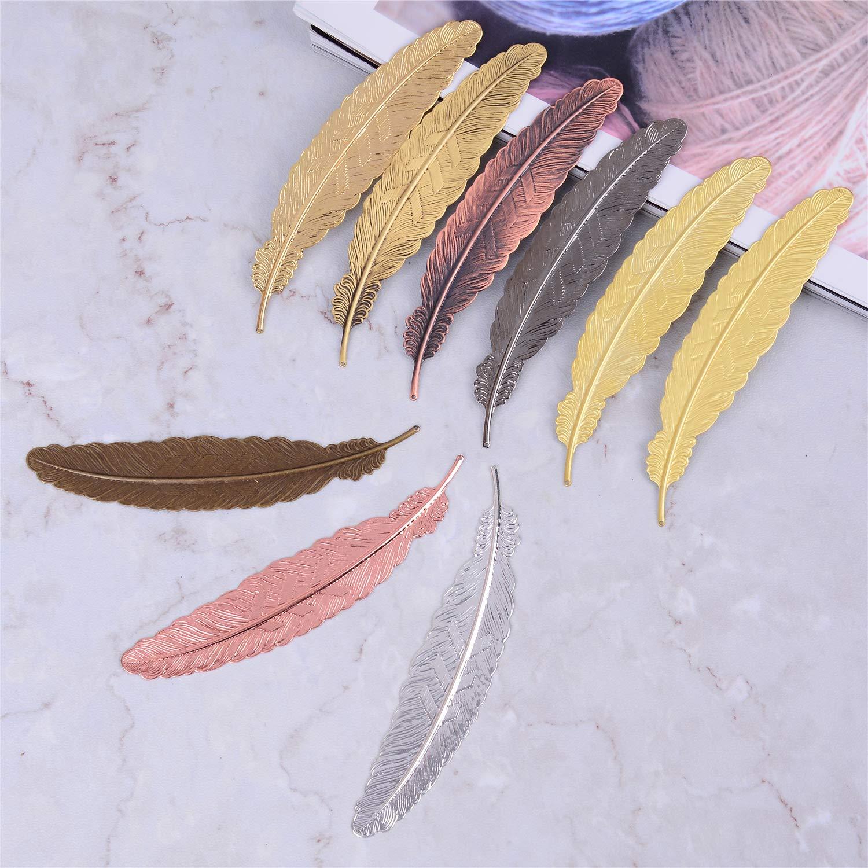 regalo ideale per adulti classici segnalibri assortiti in metallo amici e parenti bambini LOCOLO 18 segnalibri a forma di piuma