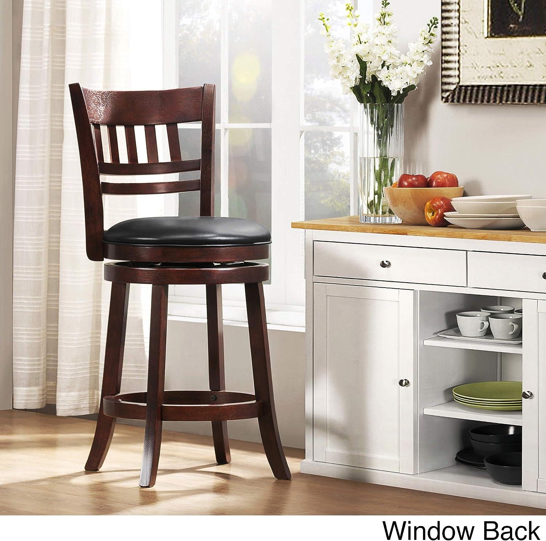 Amazon Com Inspire Q Verona Cherry Swivel 24 Inch High Back Counter Height Stool By Classic Black Window Furniture Decor