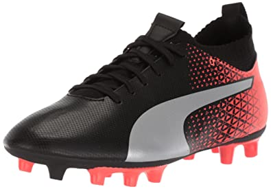 fbd396758 PUMA Unisex Evoknit FTB FG Kids Soccer Shoe, Black Silver-red Blast, 3.5