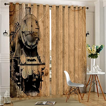 Thermal Insulated Blackout Window Curtain Antique Old Iron Train Aged Sepia Style Design Theme Artsy Print
